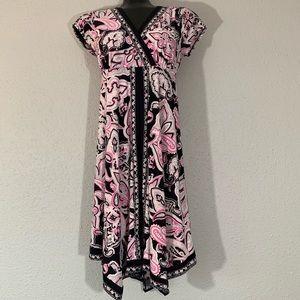 INC Handkerchief Hem Hem Pink Paisley Dress size M